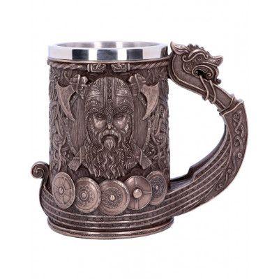 Stor Luxuös Mugg / Sejdel med Bronsfärgat Vikingamotiv 15 cm