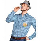Blå och Vit Rutig Oktoberfest Maskeradskjorta