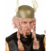 Blond Asterix Inspirerad Peruk med Mustasch och Flätor