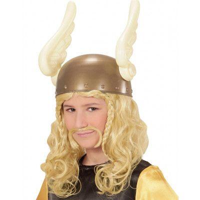 Blond Asterix/Viking Peruk till Barn med Mustasch