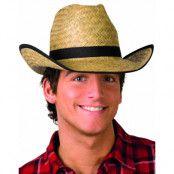 Ljus Brun Cowboyhatt av Flätat Strå med Svarta Kanter