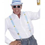 Blå och Vit Oktoberfesthatt och Hängslen - Paketerbjudande