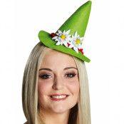 Ljus Grön Mini Tyrolerhatt med Band och Edelweiss