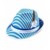 Rutig blå och vit Oktoberfest hatt med Fedoraform dekorerad med fjädrar och band