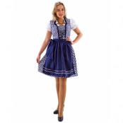Blårutig Lyxig Oktoberfestklänning med Förkläde och Blus