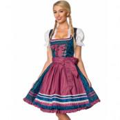 Brokadmönstrad Lyxig Oktoberfestklänning i Blått och Burgunderrött