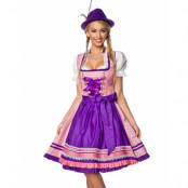 Brokadmönstrad Lyxig Oktoberfestklänning i Rosa och Lila