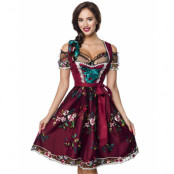 Burgundyröd Lyxig Oktoberfestklänning med Blomstermotiv