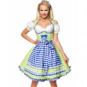 Deluxe Grön Dirndl-Oktoberfestklänning med Blå Partier