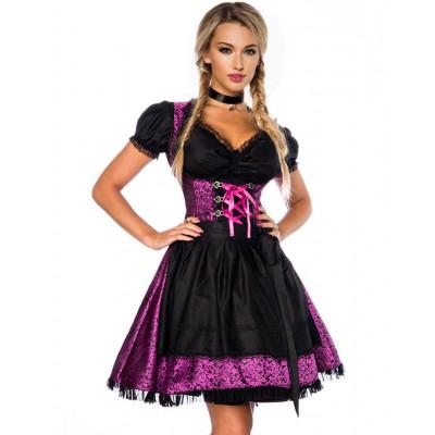 Läcker Svart och Lila Lyxig Oktoberfestklänning
