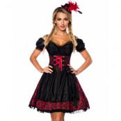 Läcker Svart och Röd Lyxig Oktoberfestklänning