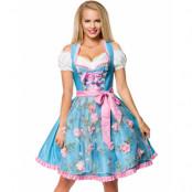 Ljusblå Dirndl Oktoberfestklänning i Lyxkvalitet med Utformade Blommor på Förkläde