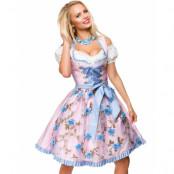 Ljusrosa Dirndl Oktoberfestklänning i Lyxkvalitet med Utformade Blommor på Förkläde