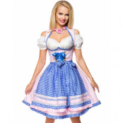 Ljusrosa Lyxig Dirndl-Oktoberfestklänning i Lyxkvalitet med Rutigt Förkläde