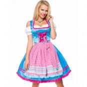 Lyxig Blå Dirndl Korsettklänning med Förkläde