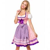 Lyxig Dirndl Damaskmönstrad Korsettklänning med Förkläde