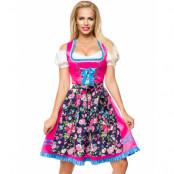 Lyxig Rosa Dirndl Korsettklänning med Förkläde