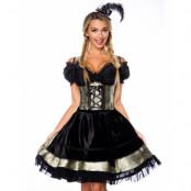 Mönstrad Viktoriansk Oktoberfestklänning i Lyxkvalitet