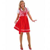 Rödrutig Lyxig Oktoberfestklänning med Förkläde och Blus