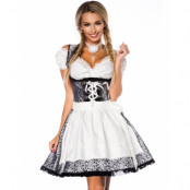 Svart Lyxig Oktoberfestklänning med Silverfärgat Mönster