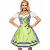 Traditionell Kungsblå och Vit Oktoberfest Korsettklänning i Lyxkvalitet med Förkläde
