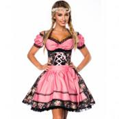 Vacker Svart Blommönstrad Lyxig Oktoberfestklänning
