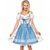 Vit Lyxig Oktoberfestklänning med Blomstermotiv